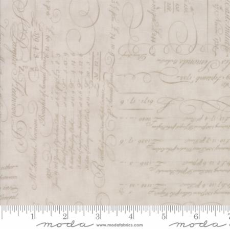 """Quill""-Floral Script Ledger Natural Tonal Parchment by 3 Sisters for Moda"