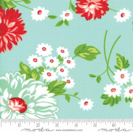"""The Good Life""-Floral Scrumptious Aqua by Bonnie & Camille for Moda"
