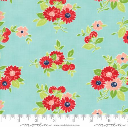 """The Good Life""-Floral Summer Aqua by Bonnie & Camille for Moda"
