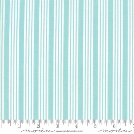 """The Good Life""-Floral Stripe Aqua by Bonnie & Camille for Moda"