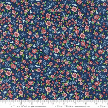 """Tuppence""-Floral Lillian Dark Blue Black Currant by Shannon Gillman Orr for Moda"