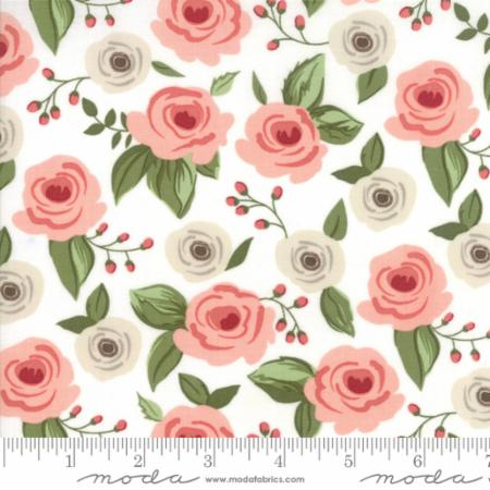 """Farmer's Daughter""-Floral Painted Bouquet White Vanilla by Lella Boutique for Moda"