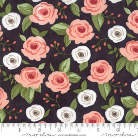 """Farmer's Daughter""-Floral Painted Bouquet Black Charcoal by Lella Boutique for Moda"