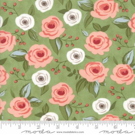 """Farmer's Daughter""-Floral Painted Bouquet Light Green Grass by Lella Boutique for Moda"