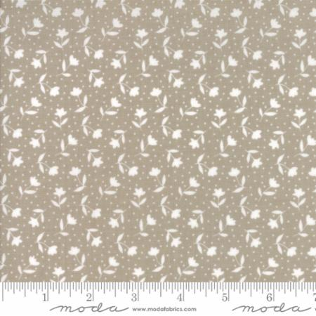 """Farmer's Daughter""-Floral Bloom Toss Tan Taupe by Lella Boutique for Moda"