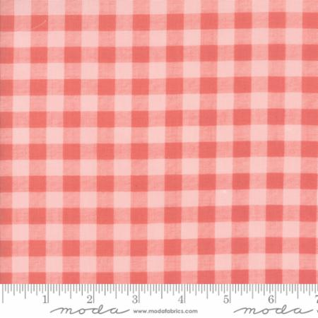 """Farmer's Daughter""-Floral Gingham Pink Lemonade by Lella Boutique for Moda"