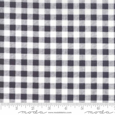 """Farmer's Daughter""-Floral Gingham Black Charcoal by Lella Boutique for Moda"
