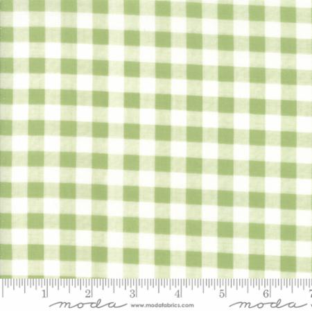 """Farmer's Daughter""-Floral Gingham Light Green Grass by Lella Boutique for Moda"