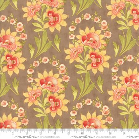 """Floral Harvest Bouquet Tan""-Hazel & Plum by Fig Tree Quilts for Moda"
