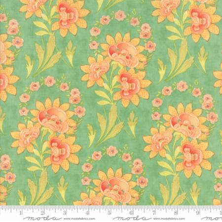 """Floral Harvest Bouquet Aqua""-Hazel & Plum by Fig Tree Quilts for Moda"