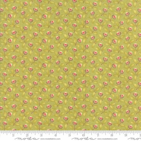 """Floral Plum Blossoms Light Green""-Hazel & Plum by Fig Tree Quilts for Moda"