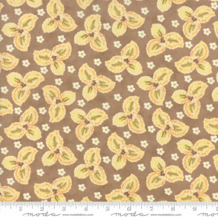 """Floral Autumn Leaves Tan""-Hazel & Plum by Fig Tree Quilts for Moda"