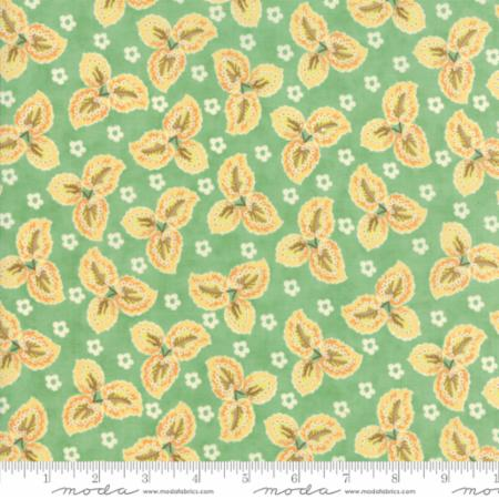 """Floral Autumn Leaves Aqua""-Hazel & Plum by Fig Tree Quilts for Moda"