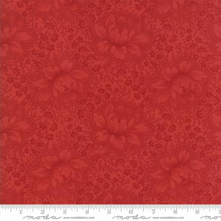 """Farmhouse Reds""- Floral Etched Red by Minick and Simpson for Moda"