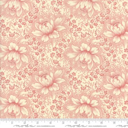 """Farmhouse Reds""- Floral Etched Ivory Red by Minick and Simpson for Moda"