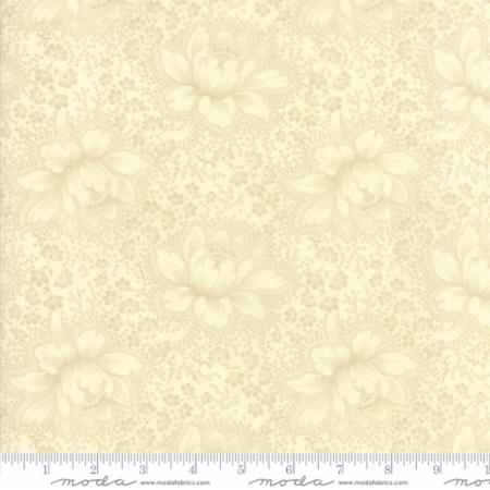 """Farmhouse Reds""- Floral Etched Tonal Ivory by Minick and Simpson for Moda"