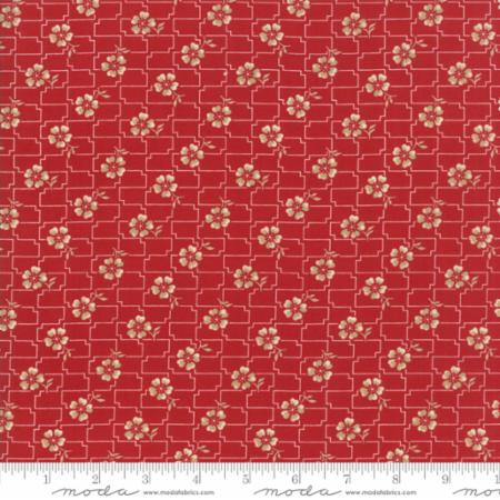 """Farmhouse Reds""- Floral Grid Red by Minick and Simpson for Moda"