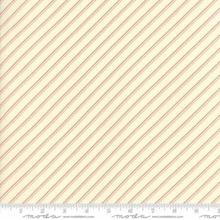 """Farmhouse Reds""-Floral Bias Stripe Natural Ivory Red by Minick and Simpson for Moda"