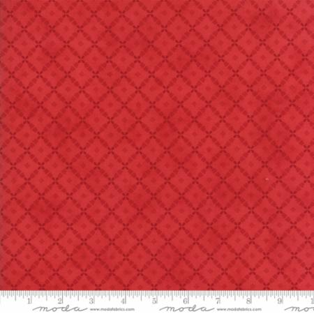 """Farmhouse Reds""-Floral Lattice Red by Minick and Simpson for Moda"