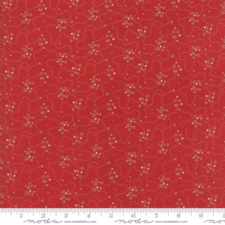"""Farmhouse Reds""-Floral Meandering Dots Red by Minick and Simpson for Moda"