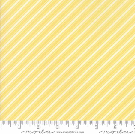 """Ella & Ollie""-Floral Bias Ticking Stripe Yellow Daisy by Fig Tree Quilts for Moda"
