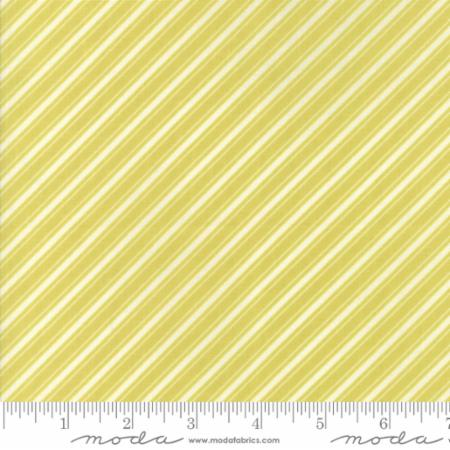 """Ella & Ollie""-Floral Bias Ticking Stripe Light Green Apple by Fig Tree Quilts for Moda"