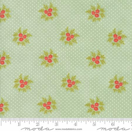 """Ella & Ollie""-Floral Posies Aqua Pond by Fig Tree Quilts for Moda"