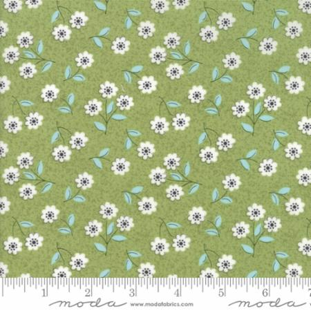 """Nest""-Floral Classic Blossom Light Green by Lella Boutique for Moda"