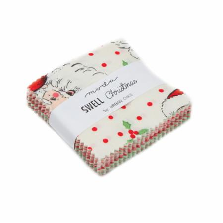 """Swell Christmas"" 42 piece Mini Charm 2.5"" x 2.5"" by Urban Chiks for Moda"
