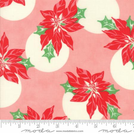 """Swell Christmas""-Poinsettia Polka Dot Pink by Urban Chiks for Moda"