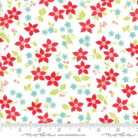 """Vintage Holiday""-Christmas Poinsettia White by Bonnie & Camille for Moda"