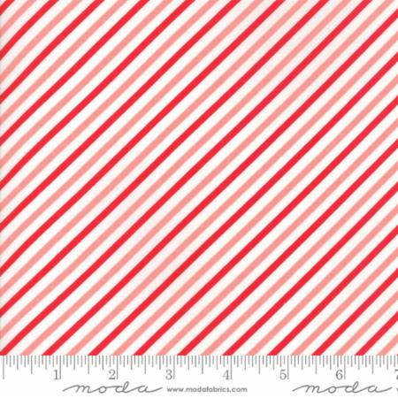 """Vintage Holiday""-Bias Candy Stripe Red by Bonnie & Camille for Moda"