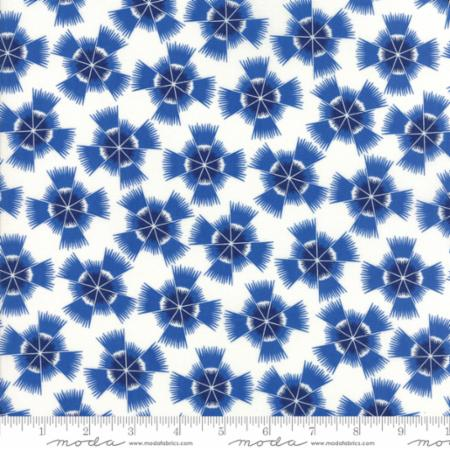 """Feed Sacks True Blue""-Reproduction Starburst Navy by Linzee Kull McCray for Moda"