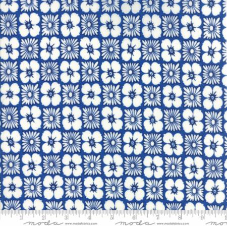 """Feed Sacks True Blue""-Reproduction Flower Power Dark Blue by Linzee Kull McCray for Moda"