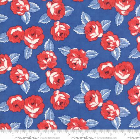 """Feed Sacks True Blue""-Reproduction Roses Dark Blue by Linzee Kull McCray for Moda"