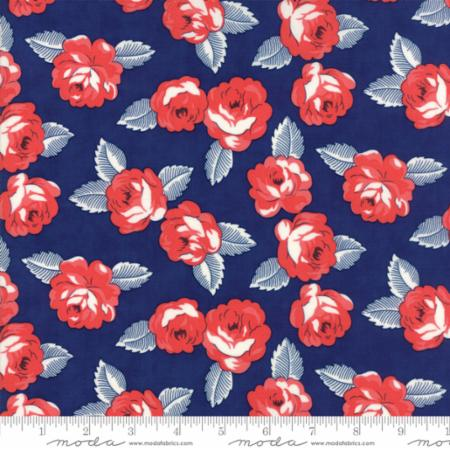 """Feed Sacks True Blue""-Reproduction Roses Navy by Linzee Kull McCray for Moda"