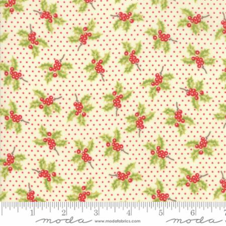 """Christmas Figs""-Christmas Holly Natural by Fig Tree Quilts for Moda"