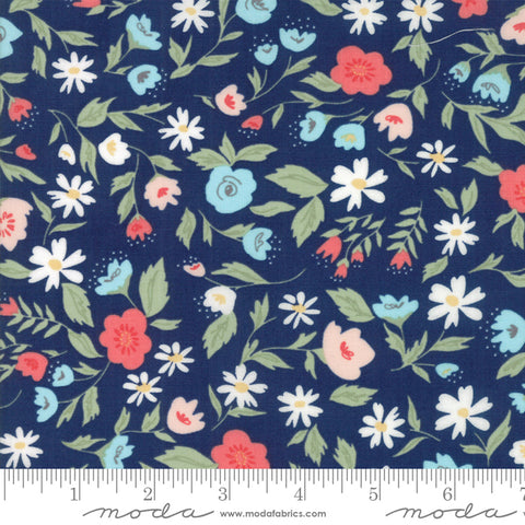 """Garden Variety""-Floral Garden Bed Navy by Lella Boutique for Moda"