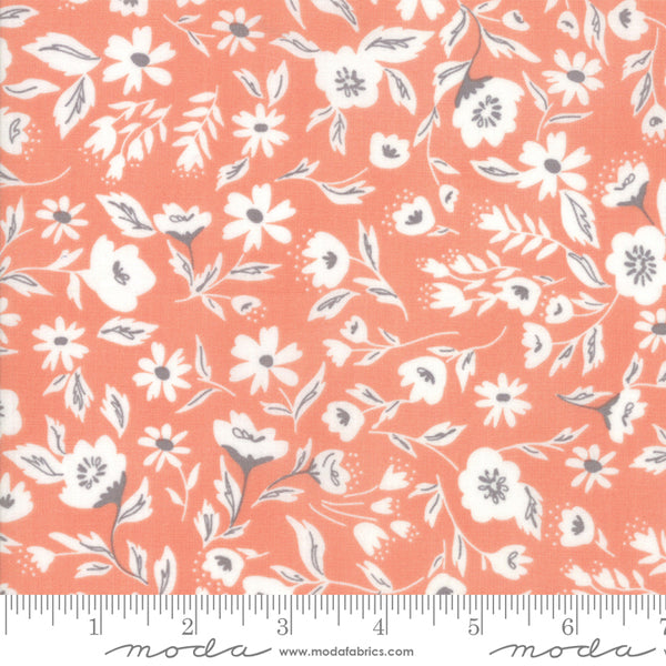 """Garden Variety""-Floral Garden Bed Apricot by Lella Boutique for Moda"