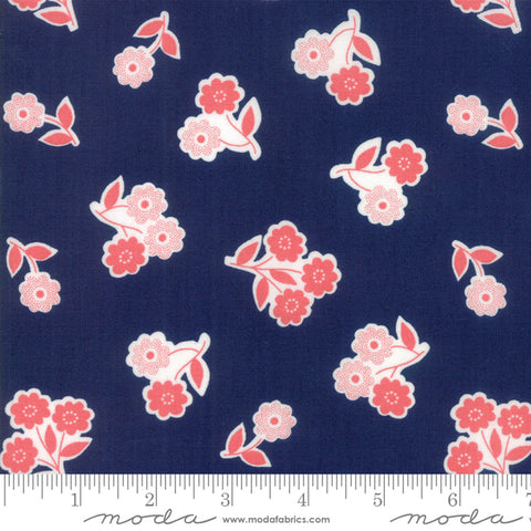 """Garden Variety""-Floral Handpicked Navy by Lella Boutique for Moda"