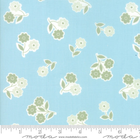 """Garden Variety""-Floral Handpicked Blue Sky by Lella Boutique for Moda"