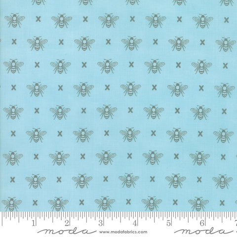 """Garden Variety""-Floral Queen Bee Blue Sky by Lella Boutique for Moda"