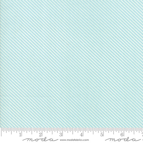 """Garden Variety""-Floral Candy Stripe Blue Sky by Lella Boutique for Moda"