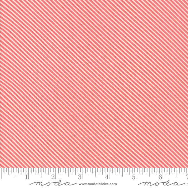 """Garden Variety""-Floral Candy Stripe Berry by Lella Boutique for Moda"