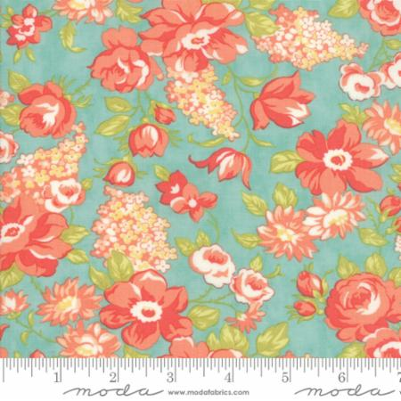 """Farmhouse II""-Farmhouse Blooms Aqua by Fig Tree Quilts for Moda"