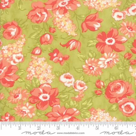 """Farmhouse II""-Farmhouse Blooms Light Green by Fig Tree Quilts for Moda"
