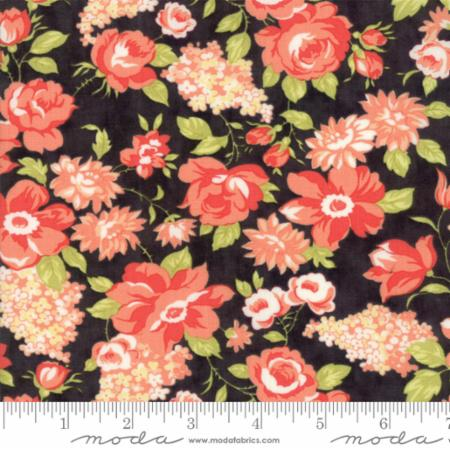 """Farmhouse II""-Farmhouse Blooms Black by Fig Tree Quilts for Moda"