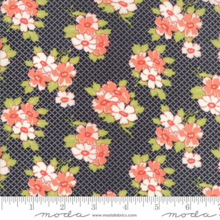 """Farmhouse II""-Basketweave Posies Black by Fig Tree Quilts for Moda"
