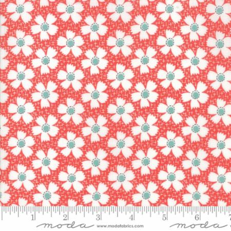 """Farmhouse II""-Floral Daisies Gingham Red by Fig Tree Quilts for Moda"