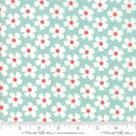 """Farmhouse II""-Floral Daisies Gingham Aqua by Fig Tree Quilts for Moda"